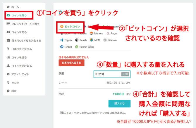 コインチェック:日本円でビットコインを購入(両替)するページ