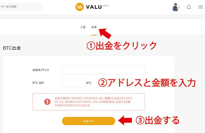 VALU:売れたVAを日本円に換金する手順④
